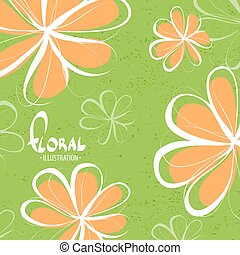 Bright orange flowers on a green background - Bright...