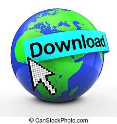 3d world globe over white download text - 3d illustration of...