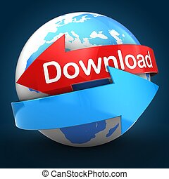 3d Earth globe over blue back download text - 3d...