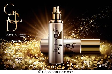 golden cosmetic product - cosmetic product with golden logo...