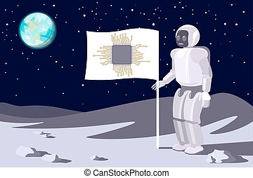 Robot on the moon. Banner with a chip. Blue earth in sky.Vector.