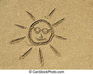 sol, desenho, Areia