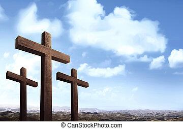 blu, cristiano, sopra, cielo, croce, fondo