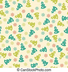 New year and Christmas tree winter seamless pattern with snowflakes