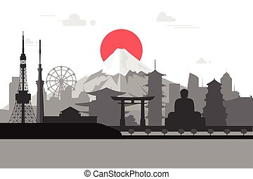 Silhouette illustration of Tokyo city in Japan.Japan...