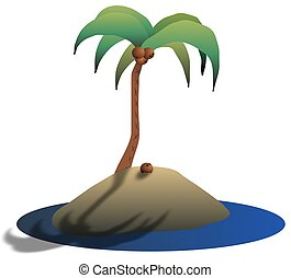 Island - Illustration of a desert island with a coconut tree