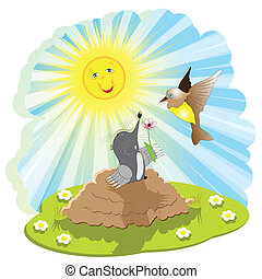 Mole and bird - Illustration, mole came out of burrow and...
