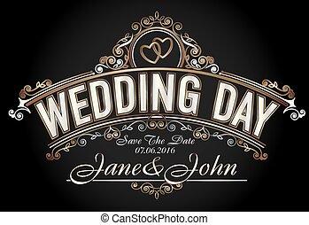 Vintage style wedding invitation template