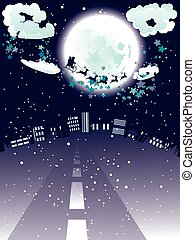 Santa Claus Coming to City