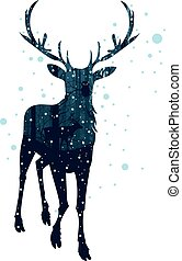 Snowy Winter Forest with Deer