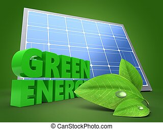 3d green sign with solar panel - 3d illustration of green...