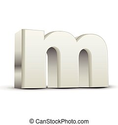 lowercase white letter M