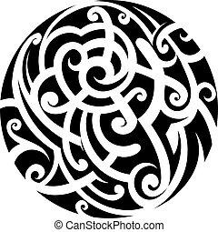 Maori style tattoo - Maori tribal tattoo as circle shape...