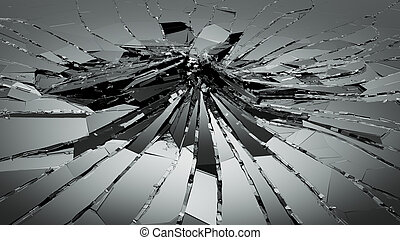 Bullet hole pieces of shattered or smashed glass. 3d...
