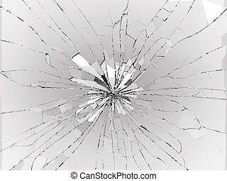 Bullet hole Cracked and Shattered glass on black. 3d...