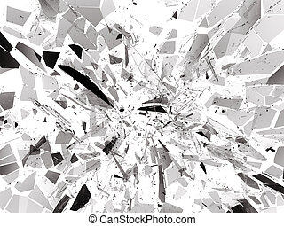 Pieces of destructed Shattered glass on white. 3d rendering...