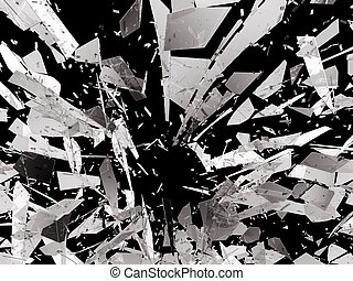 Pieces of splitted or cracked glass on black. 3d rendering...