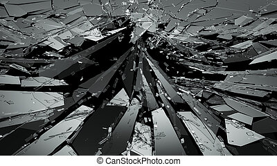 Pieces of Broken or Shattered glass on black. 3d rendering...