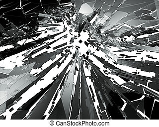Shattered or broken glass Pieces on white. 3d rendering 3d...