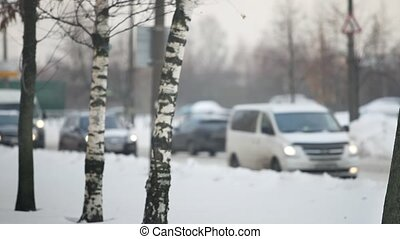 Cars on snowy winter road - Winter cold the road snow...