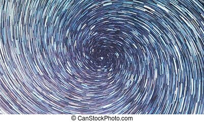 Stars draw a line in the sky. screw spiral. Night, Time Lpase