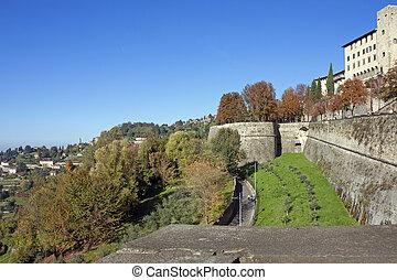 Bergamo, città alta, Italy - a view of Bergamo and venetian...