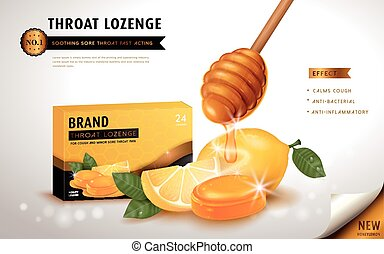 Honey lemon throat lozenge, ads template and package design...