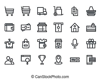 E-commerce. Set of outline web icons.