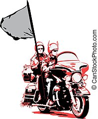 Couple riding motorcycle with flag
