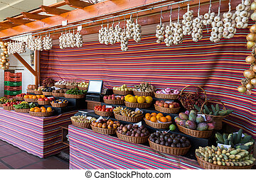 Fresh exotic fruits in Mercado Dos Lavradores. Funchal,...