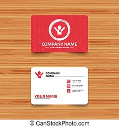 Fans love icon. Man raised hands up sign. - Business card...