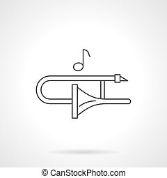 Play on trombone flat line vector icon - Play on trombone...
