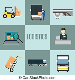 Logistics company and warehouse icon set isolated vector...