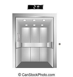 silhouette elevator gray scale with opened door vector...