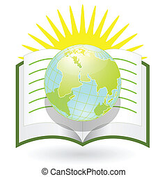 Knowledge - Illustration, globe on background of the book...