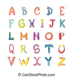 Hand-drawn cute funky alphabet. Children font on white.