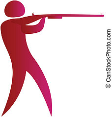 human aiming target with a gun