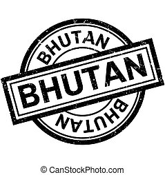 Bhutan rubber stamp. Grunge design with dust scratches....