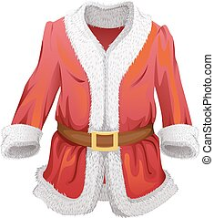 Red fur coat of Santa Claus. Isolated on white