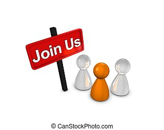 Join Us, members recruitment isolated over white background...