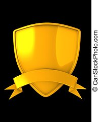 gold shield badge - 3d image, gold shield badge isolated...