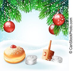 Winter holidays backgrounds.Vector illustration of (jewish...