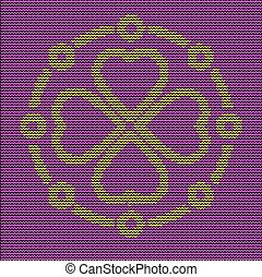 Knitting pattern ornate decorative symbol. Sweater design. Wool knitted texture in violet and yellow tones.  Concept for banner, placard, billboard or web site. Retro greeting card and background.