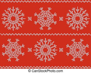 Christmas pattern with snowflakes, new year ornament on red background. Knitted vector pattern. Christmas sweater design. Wool knitted texture in white and red tones.