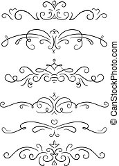 Set of 6 decorative swirls elements, dividers, page decors.