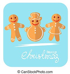 merry christmas-27 - Cartoon gingerbread cookies isolated on...