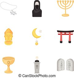 Religion set icons in cartoon style. Big collection of religion vector symbol stock illustration