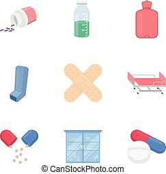 Medicine and hospital set icons in cartoon style. Big...