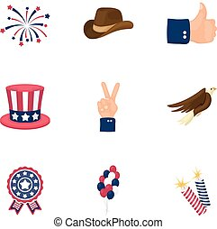 Patriot Day set icons in cartoon style. Big collection of Patriot Day vector symbol stock illustration