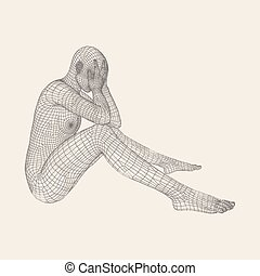 Man in a Thinker Pose. 3D Model of Man. Geometric Design....